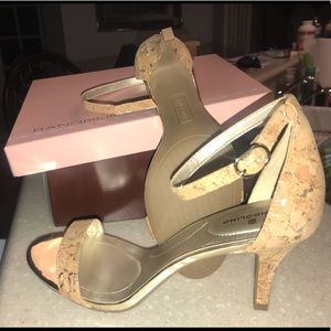Size 8 - new, never worn; cork look w/ gold flake.